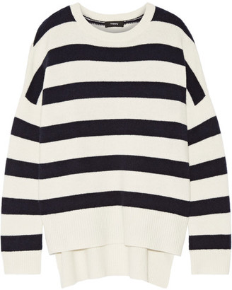 Theory - Karenia Striped Cashmere Sweater - Ivory $445 thestylecure.com