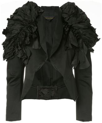 Comme des Garcons Pre-Owned ruffled shoulder cropped jacket