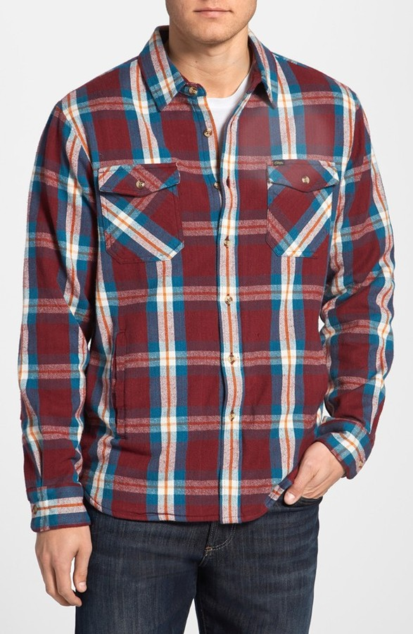 Obey 'Labor' Plaid Flannel Shirt Jacket with Thermal Lining
