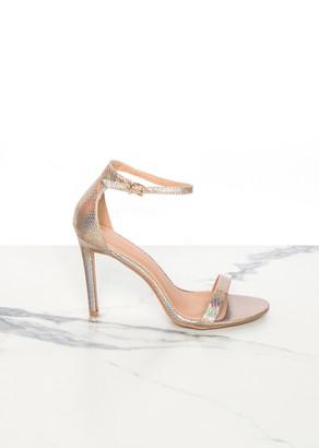 006a5d9ef30c Missy Empire Missyempire Kayla Rose Gold Snakeskin Ankle Strap Heels