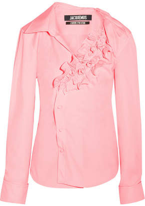 Jacquemus Seville Ruffled Cotton-poplin Shirt - Pink