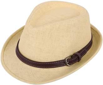 Simplicity Kids Panama Straw Fedora Short Brim Beach Hat with PU Leather Belt Beige