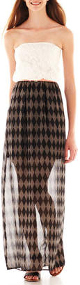 City Triangles Strapless Belted Lace Print Maxi Dress