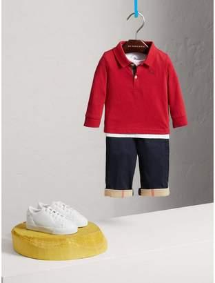 Burberry Check Trim Long-sleeved Cotton Polo Shirt