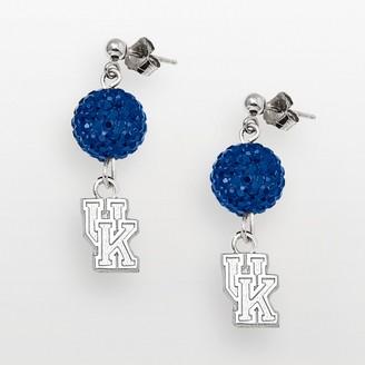 Logoart Kentucky Wildcats Sterling Silver Crystal Linear Drop Earrings