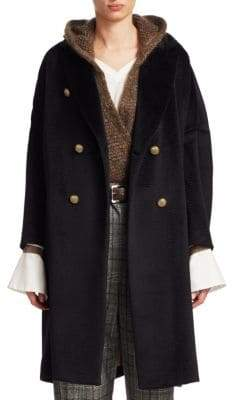 Brunello Cucinelli Wavy Alpaca Fur Effect Coat