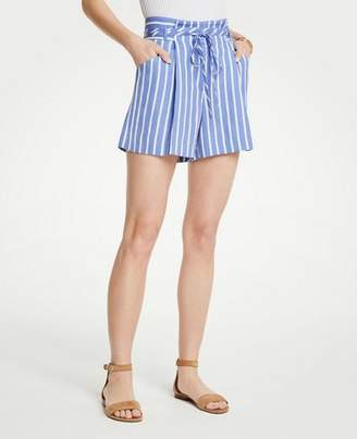 Ann Taylor Stripe Pleated Tie Waist Shorts