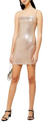 Topshop Metallic Foil Mini Bodycon Dress