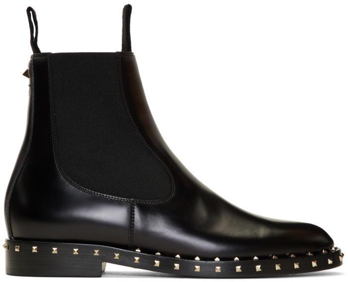 Valentino Black Valentino Garavani Rockstud Chelsea Boots
