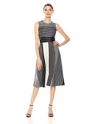 Calvin Klein Women's Sleeveless a Line Midi Dress with Round Neckline