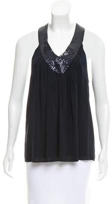 Alice + Olivia Embellished Silk Top