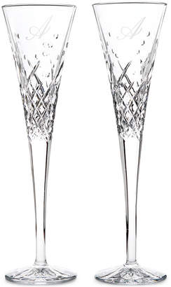 Waterford Wishes Happy Celebrations Script Letter Monogram Toasting Flutes, Set Of 2