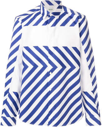 Kenzo colour block diagonal striped shirt