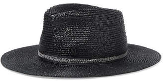 Maison Michel Charles Grosgrain-trimmed Straw Fedora - Black