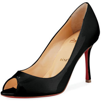 Christian Louboutin Yootish 85mm Peep-Toe Red Sole Pump $675 thestylecure.com