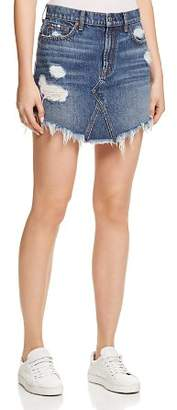 7 For All Mankind Frayed Hem Denim Skirt in Montreal 4