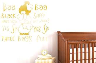 BEIGE Nursery Rhyme Baa Baa Black Sheep Have You Any Wool Wall Stickers Art Decals - Large (Height 57cm x Width 66cm) (Shiny) Gold