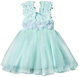 Lee Evelin Baby Girls Princess Lace Flower Tulle Tutu Gown Formal Party Dress