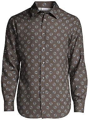 Brioni Men's Medallion-Print Silk Shirt