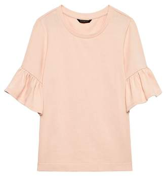 Banana Republic Petite French Terry Flutter-Sleeve Sweatshirt Top