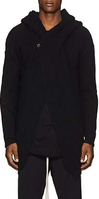 Rick Owens Men's Rib-Knit Wool Hooded Cardigan