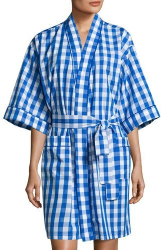BedHeadBedhead Gingham Short Kimono Robe, Navy