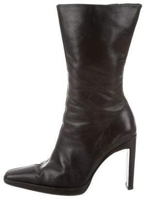 Charles David Mid-Calf Leather Ankle Boots