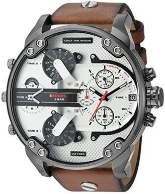 Diesel Men's DZ7394 Mr. Daddy 2.0 Gunmetal IP Leather Watch