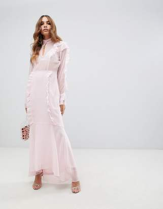 Vero Moda Ruffle Maxi Dress With Fishtail Hem