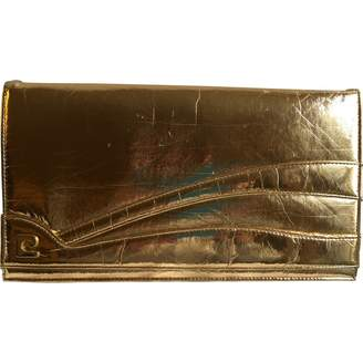 Courreges Gold Patent leather Clutch Bag
