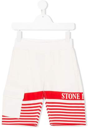 Stone Island Junior striped logo-print shorts