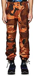 Heron Preston HERON PRESTON MEN'S EMBROIDERED CAMOUFLAGE COTTON CARGO PANTS-ORANGE SIZE XS
