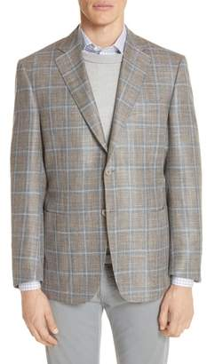 Canali Kei Classic Fit Windowpane Wool Blend Sport Coat