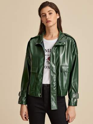 Shein Zip Up Flap Pocket Patched PU Utility Jacket