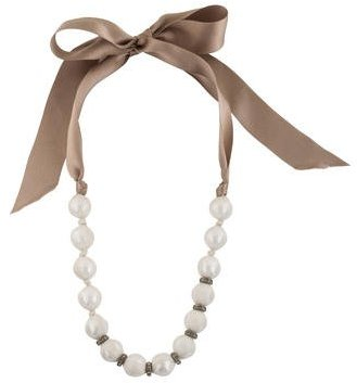 Lanvin Lanvin Silk Ribbon Pearl Strand Necklace w/ Tags