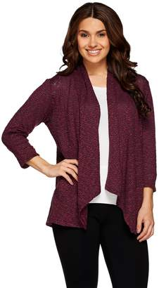 Joan Rivers Classics Collection Joan Rivers Draped Popcorn Knit Cardigan with 3/4 Sleeves