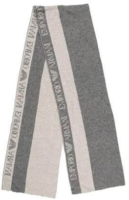Emporio Armani Knit Logo Scarf Grey Knit Logo Scarf