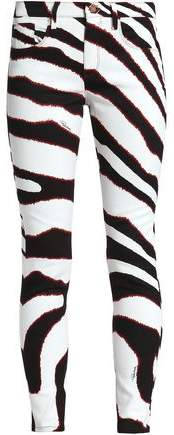 Zebra-Print Mid-Rise Skinny Jeans