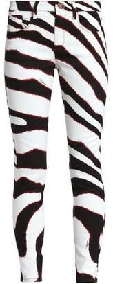 Roberto Cavalli Zebra-Print Mid-Rise Skinny Jeans