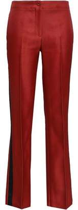 Emilio Pucci Satin-trimmed Wool And Silk-blend Straight-leg Pants