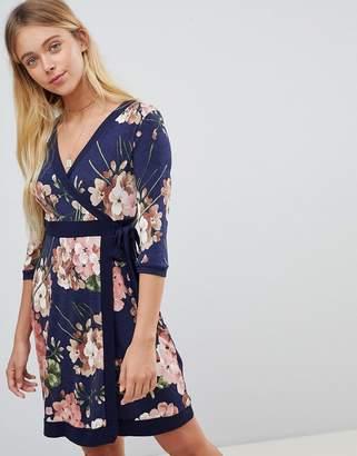 Gilli Floral PrintWrap Front Skater Dress With Tie Belt