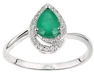 N. Naava Women's 9 ct White Gold Diamond and Emerald Teardrop Ring, Size