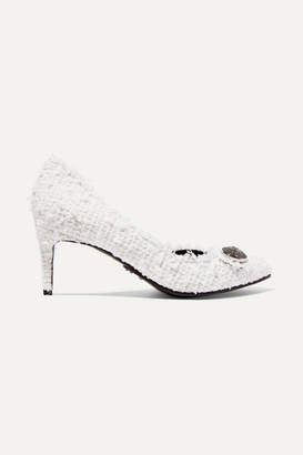 Balmain Julie Button-embellished Tweed Pumps - White