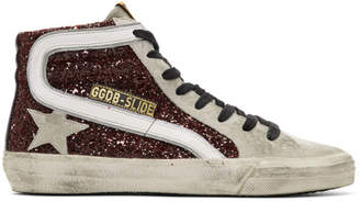 Golden Goose Grey and Red Glitter Sneakers