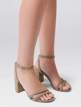 Forever New Sasha Plaited Mid Block Heel - Khaki - 36