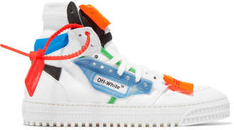 Off-White Off-court Logo-embellished Canvas And Leather High-top Sneakers