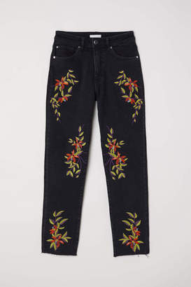 H&M Jeans with Embroidery - Black/embroidery - Women