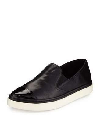 Andre Assous Danielle Cap-Toe Leather Skate Sneaker, Black $149 thestylecure.com