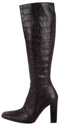 Calvin Klein Collection Alligator Square-Toe Boots w/ Tags