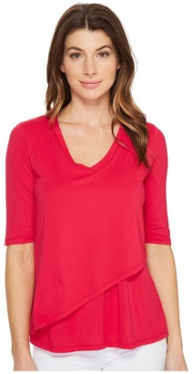 Mod-o-doc - Supreme Jersey Elbow Sleeve Tee with Angled Overlay Women's T Shirt $55 thestylecure.com